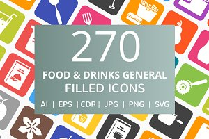270 Food & Drinks Filled Icons