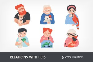 Portrait of peoples and his pets