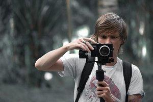 Video camera operator working
