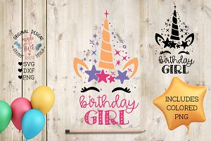 Unicorn Birthday Girl Cut File