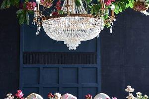 Rich christal chandelier hangs