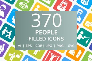 370 People Filled Round Corner Icons