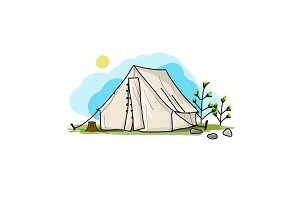 Camping tent for tourism, sketch for