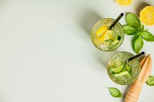 Healthy homemade lemonade or cocktai