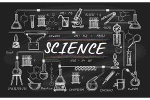 Blackboard school science sketch