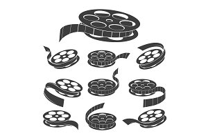 Vintage movie filmstrip roll icons