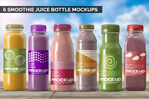 Smoothie Juice Bottle Mockups Bundle
