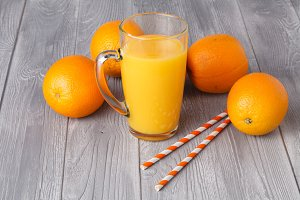 Fresh orange juice in the glass
