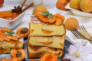 stack of biscuit pie with apricots