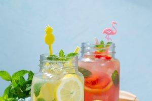 Selection of summer lemonades in