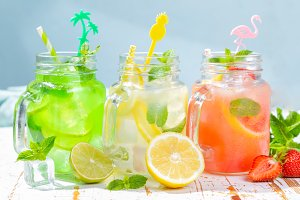 Selection of summer lemonades in