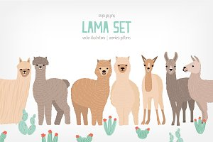 Adorable llamas and cactuses