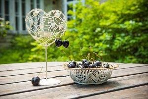 fresh red cherries berries in a