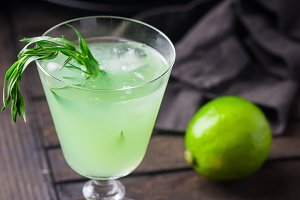 Bright green lemonade