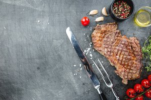 Grilled ribeye beef steak