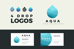 4 Aqua vector logos with business ca