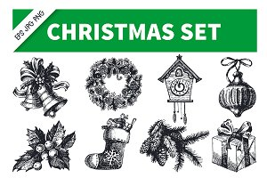 Christmas Hand Drawn Vintage Set