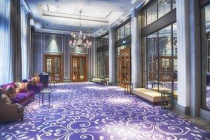 empty hall in luxury restaurant