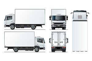 Vector truck template isolated on