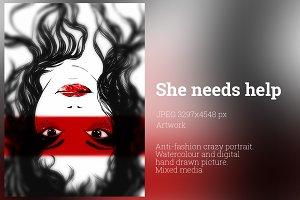 She needs help | artwork, JPEG