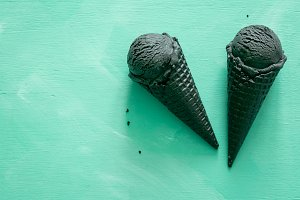Activated charcoal ice cream