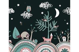 Cute kids background. Fairy night