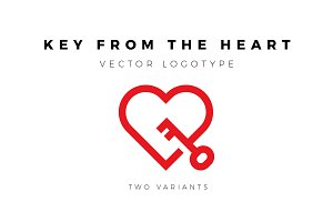 Vector logotype of heart with key