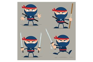 Ninja Warrior Flat Design Collection