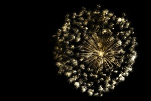golden ball of fireworks