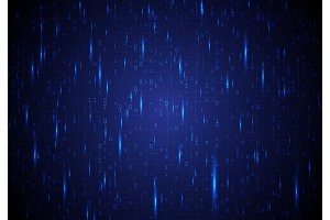 Blue background with binary code