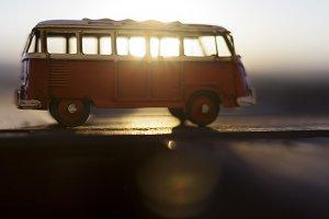 sunrise through the van
