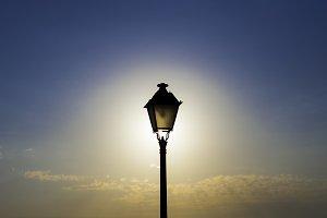 the backlighting streetlight