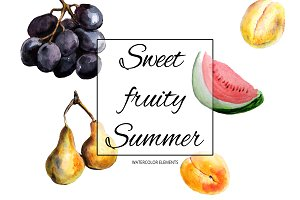 Watercolor fruits clipart | Summer