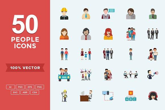 Flat Icons People Set