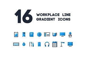 16 line gradient icons for work plac