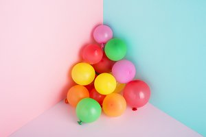 Colorful balloons for party, minimal
