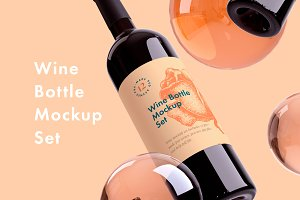 Wine Bottle Mockup 12 psd