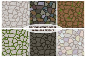 Big set cartoon color stone texture