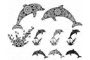 Dolphin Mandala SVG, Zentangle SVG.