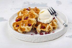 Homemade thick belgium waffles