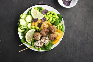 Baked meatballs in sesame meat