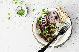 Fried beef minced bowl with basmati