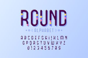 Alphabet with colorful round inserts