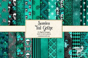 Teal Gothic Digital Paper