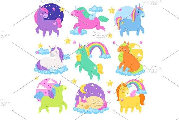 Pony vector cartoon unicorn or baby