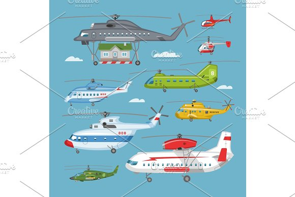 Helicopter vector copter aircraft or in Illustrations