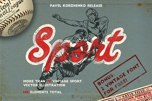 145 Sport objects + 2 FONT FOR FREE!