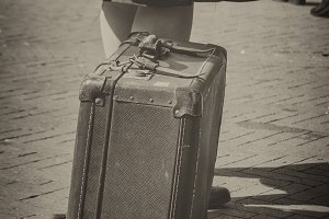 1940's woman with suitcase