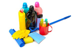 Mops, bottles detergent and rubber g