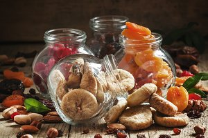 Delicious dried figs in a glass jar